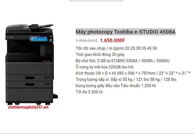 cho thuê máy photocopy màu Toshiba e-STUDIO 4508A