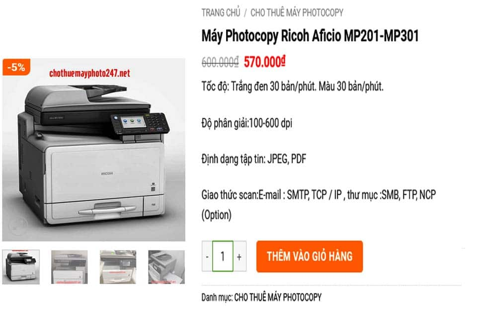 Máy Photocopy Ricoh Aficio MP201-MP301 giá rẻ