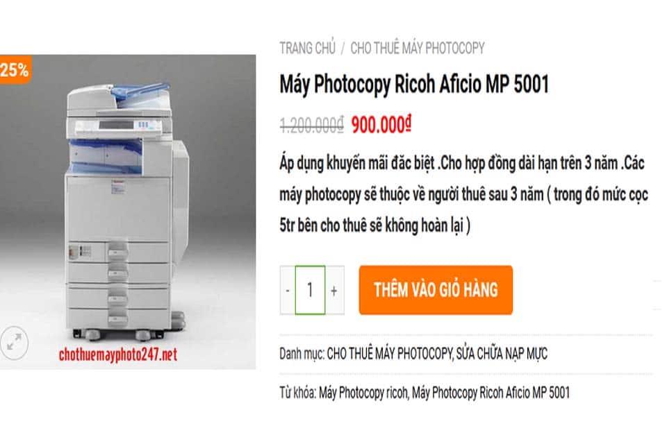 Máy Photocopy Ricoh Aficio MP 5001 giá rẻ